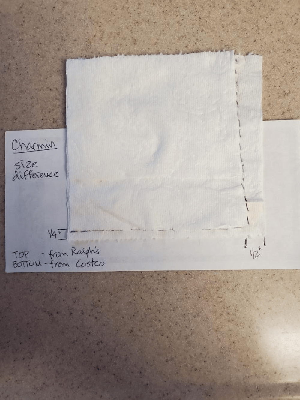 Melanie's size comparison of a square of Charmin Ultra Soft toilet paper from a newer package on top of a square from an older package.