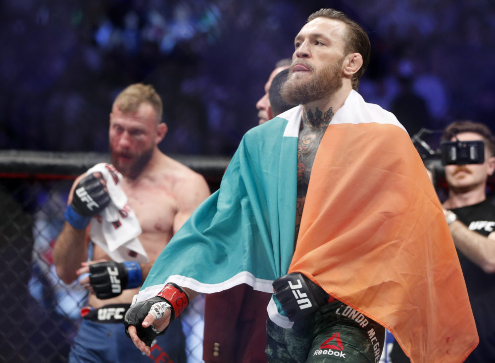 Conor McGregor, sporting a Reebok logo on his trunks, celebrated a victory at an Ultimate Fighting Championship event in January. (John Locher/AP)