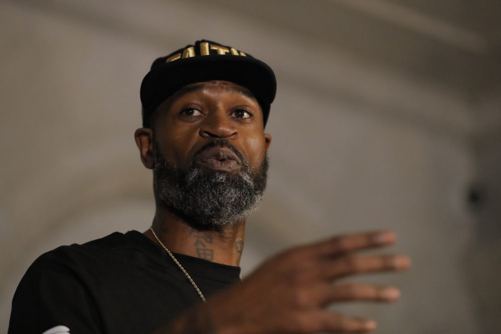 Former NBA player Stephen Jackson, a friend of George Floyd, speaks during a news conference on Tuesday in Minneapolis, Minn. (Julio Cortez/AP)