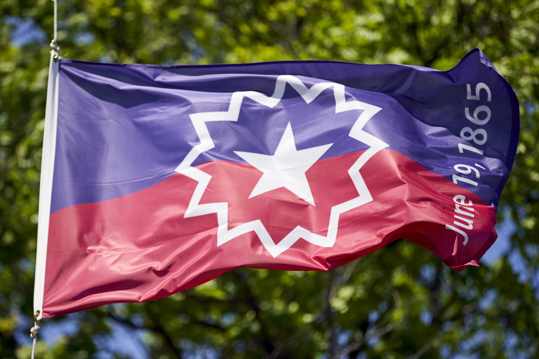 The Juneteenth flag, commemorating the day that slavery ended in the U.S., flies in Omaha, Nebraska, Wednesday, June 17, 2020. (Nati Harnik/AP)