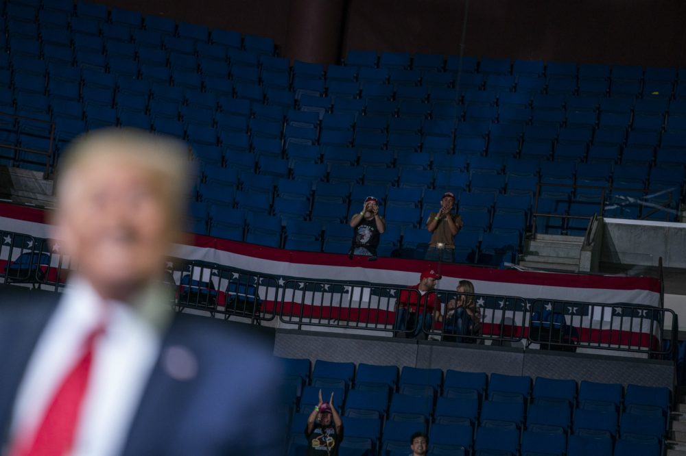 President Donald Trump supporters cheer as Trump speaks during a campaign rally at the BOK Center, Saturday, June 20, 2020, in Tulsa, Okla. (Evan Vucci/AP)