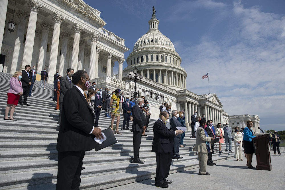 House Democrats at a news conference on the House East Front Steps on Capitol Hill in Washington, Thursday, June 25, 2020, ahead of the House vote on the George Floyd Justice in Policing Act of 2020. (AP Photo/Carolyn Kaster)