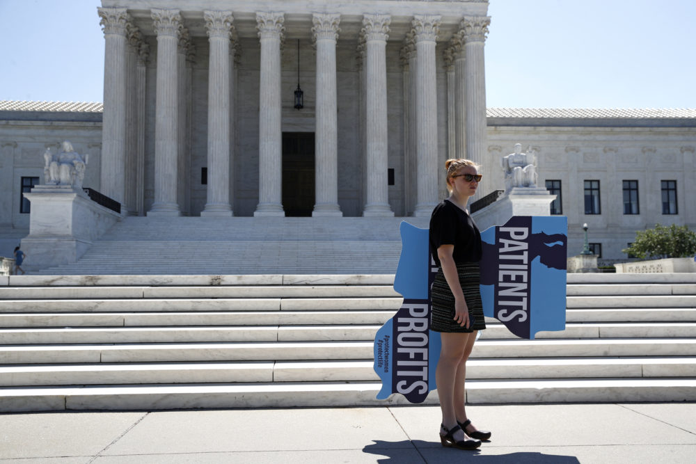 An anti-abortion protester stands outside the Supreme Court on Capitol Hill in Washington, Monday, June 29, 2020. (Patrick Semansky/AP)