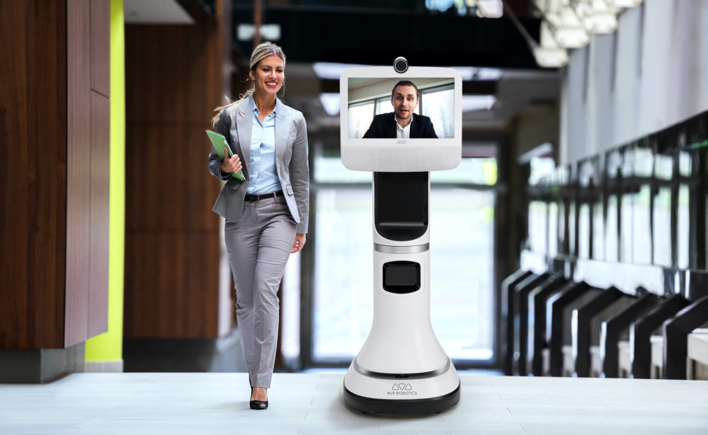 Cambridge-based Ava Robotics makes a telepresence robot that the company says can promote physical distancing. (Courtesy Ava Robotics)