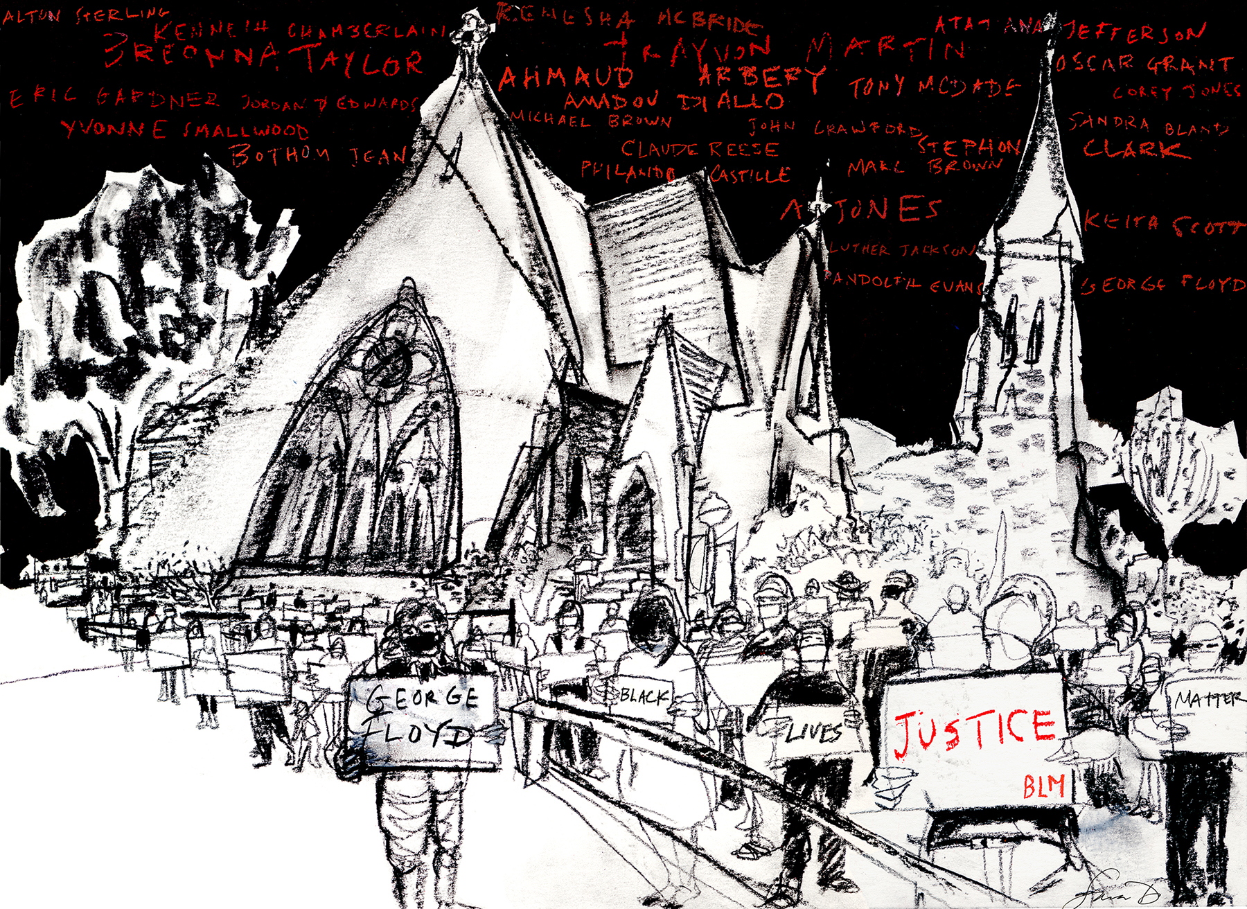 Sara Dilliplane's sketch of a silent vigil at Old Cambridge Baptist Church that was held before George Floyd's funeral. (Courtesy)