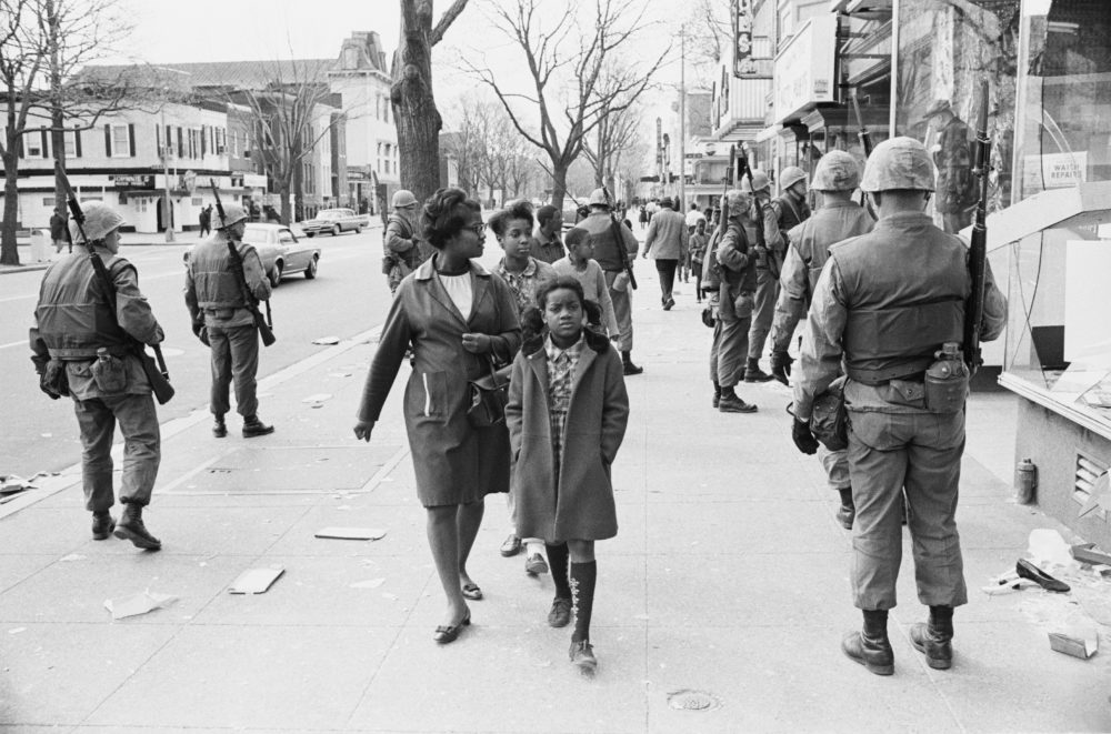 The army are called out to deal with protests in Washington, D.C., following the assassination of civil rights activist Martin Luther King Jr., in April 1968. (Michael Ochs Archives/Getty Images)