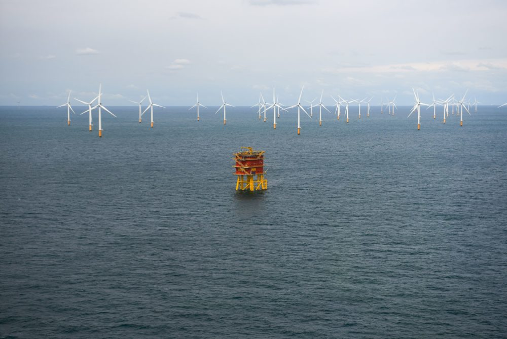 This picture taken on September 10, 2019, shows the MOG (Modular Offshore Grid) offshore platform (electricity hub for four wind farms) in the North Sea, off the Belgian coast. (Eric Herchaft/AFP via Getty Images)