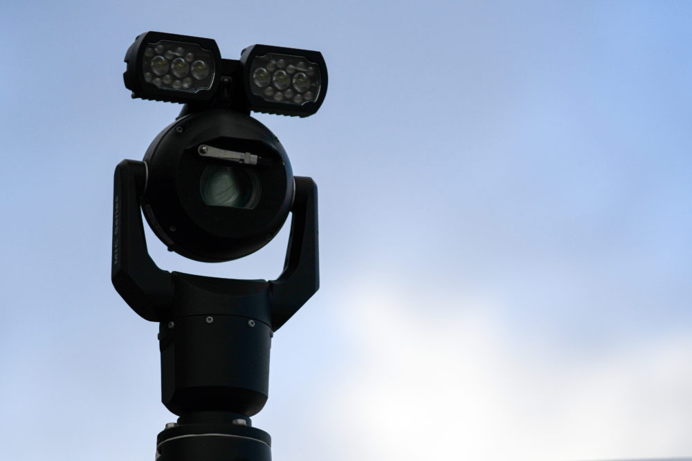 A close-up of a police facial recognition camera in use at the Cardiff City Stadium in Cardiff, Wales. (Matthew Horwood/Getty Images)