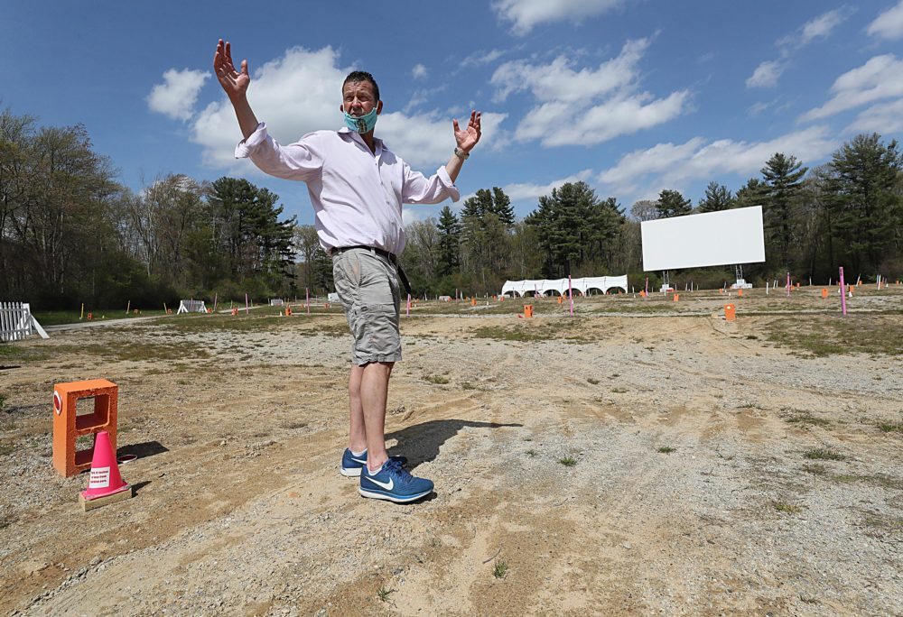 Dave Andelman, CEO of Phantom Gourmet and owner and president of Mendon Twin Drive-In   at the movie venue in May. (Suzanne Kreiter/The Boston Globe via Getty Images)