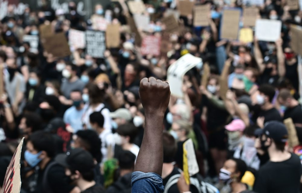 "Protesters demonstrate on June 2, 2020, during a ""Black Lives Matter"" protest in New York City. (Johannes Eisele/AFP via Getty Images)"