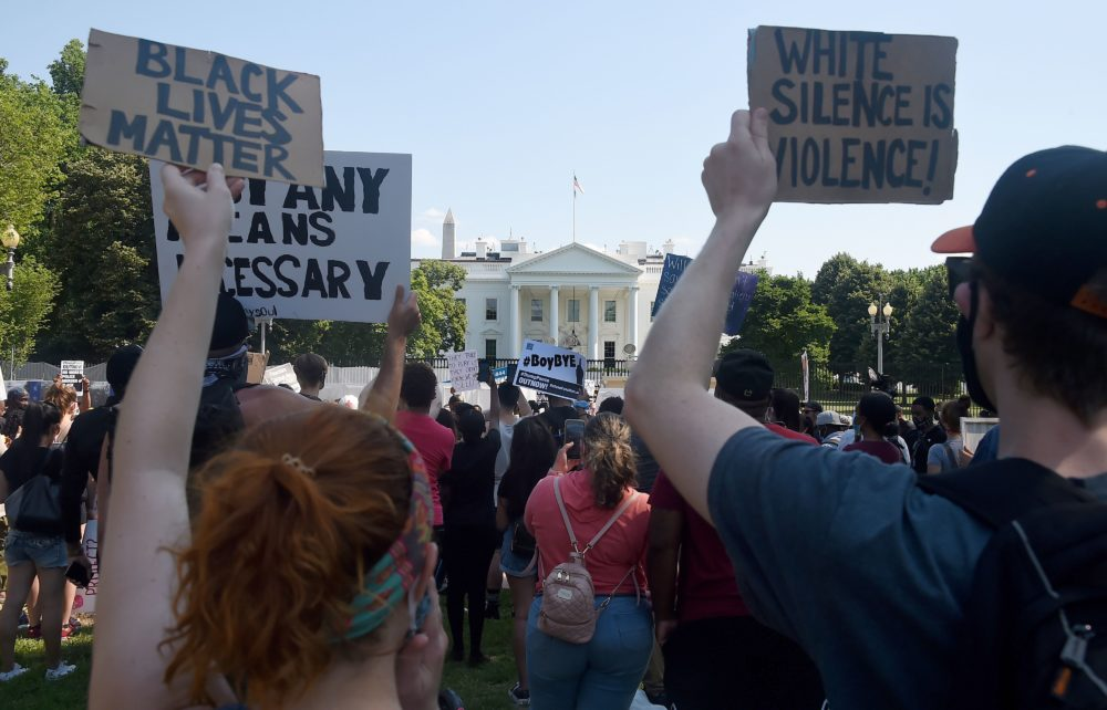 Protesters hold placards in Lafayette Park, across from the White House to protest against police brutality. (Olivier Douliery/AFP via Getty Images)