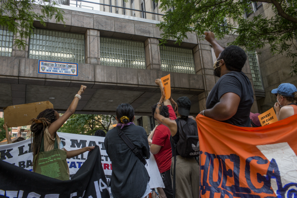Black Lives Matters activists and criminal justice reform advocates hold a protest rally calling for the abolishment of all jails and prisons outside the Tombs, the Manhattan jail renamed the Manhattan Detention Complex, on June 20, 2020 in New York City. (Andrew Lichtenstein/Corbis via Getty Images)