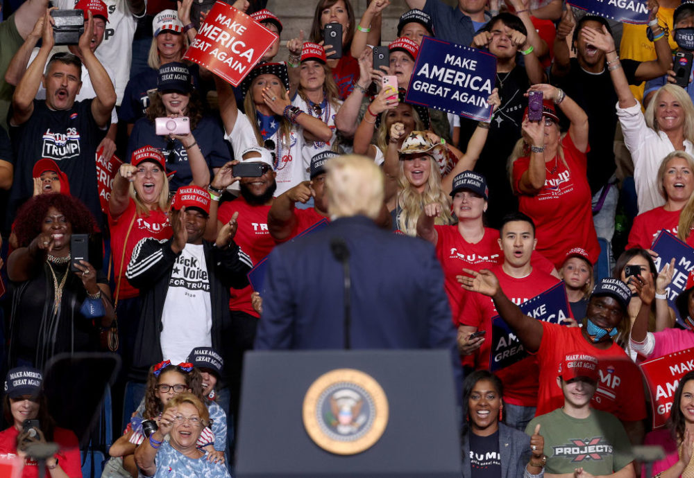 Supporters of President Trump react as he concludes speaking at  a campaign rally at the BOK Center, June 20, 2020 in Tulsa, Oklahoma. (Win McNamee/Getty Images)