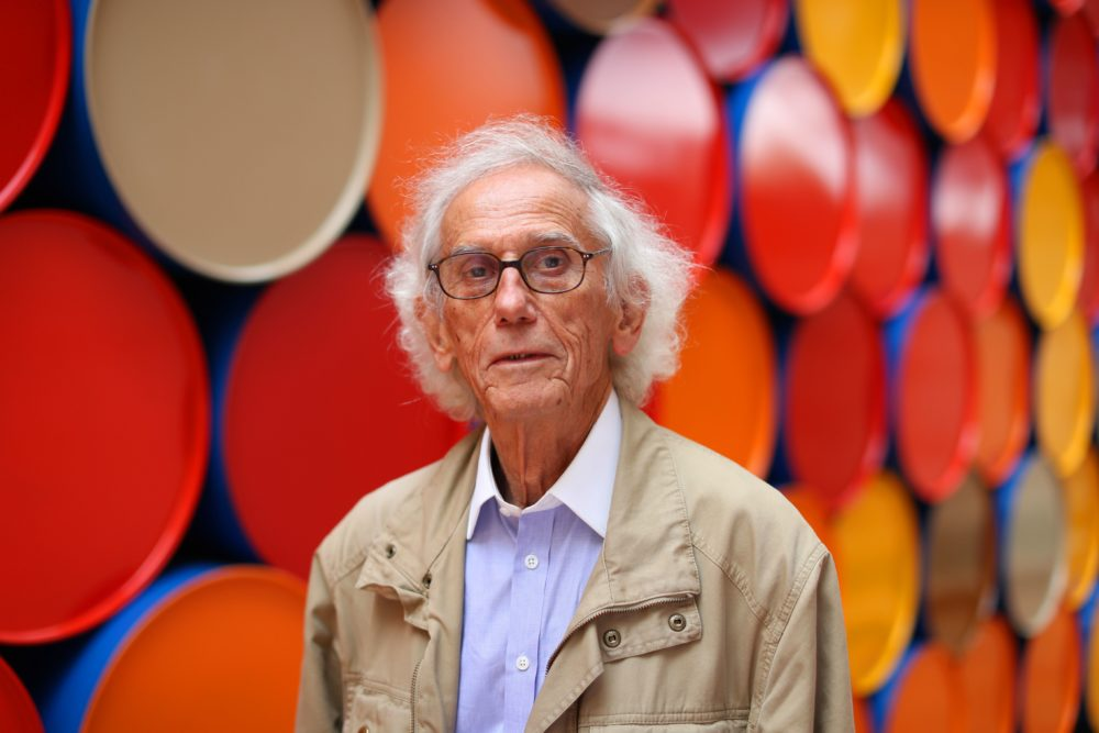 "Bulgarian artist Christo poses in front of the monumental ""Mastaba"" art work at the Maeght Foundation (Fondation Maeght) on the opening day of the exibition on June 4, 2016 in Saint-Paul-de-Vence, southeastern France. (Valery Hache/AFP via Getty Images)"