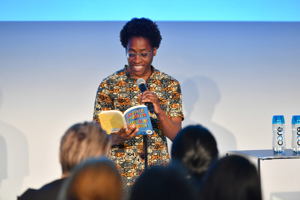 Jacqueline Woodson does a reading on stage  during the 2017 Vulture Festival at Milk Studios on May 21, 2017 in New York City.  (Dia Dipasupil/Getty Images for Vulture Festival)