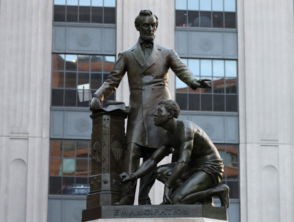The Abraham Lincoln statue, 1879, by Thomas Ball in Park Square in Boston. (David L. Ryan/The Boston Globe via Getty Images)