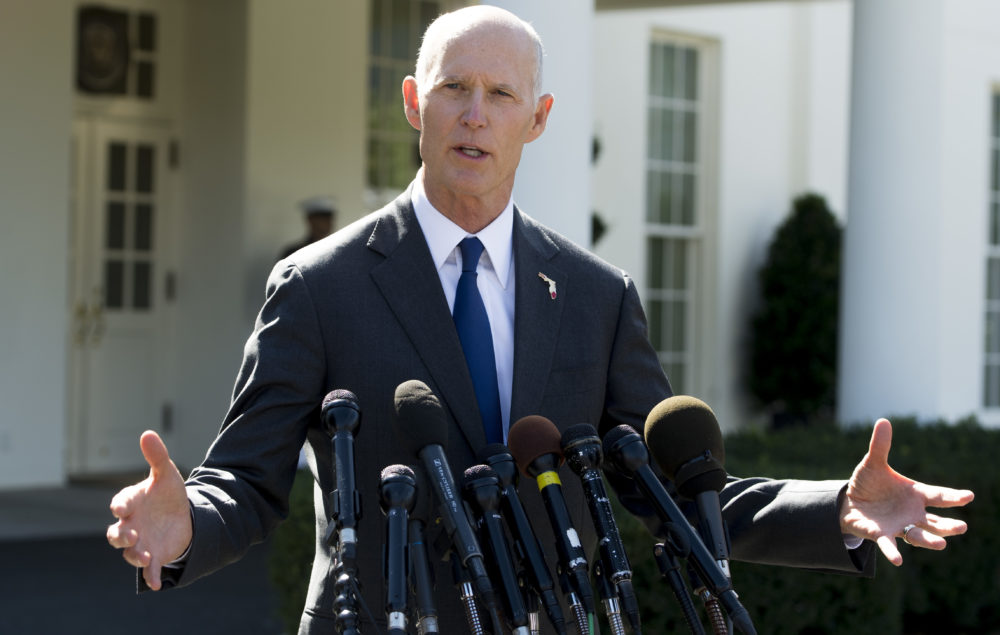 Rick Scott, then governor of Florida, speaks to the media outside the West Wing of the White House in Washington, D.C., on Sept. 29, 2017. (Saul Loeb/AFP/Getty Images)