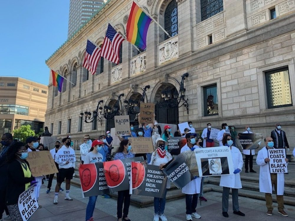 Health care workers at the 'White Coats For Black Lives' rally in Copley Square on Sunday. (Photo courtesy Raabia Malik)