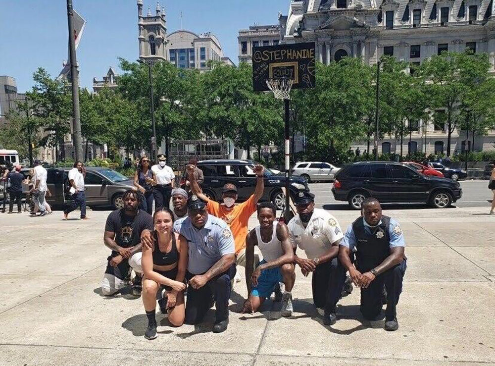 Stephania Ergemlidze has been playing basketball with police officers and protestors from Philadelphia to Minneapolis. (Courtesy Stephania Ergemlidze)