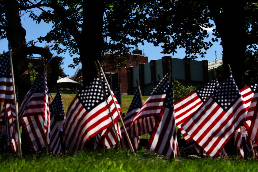 Flags outside of the Holyoke Soldiers' Home. (Miriam Wasser/WBUR)
