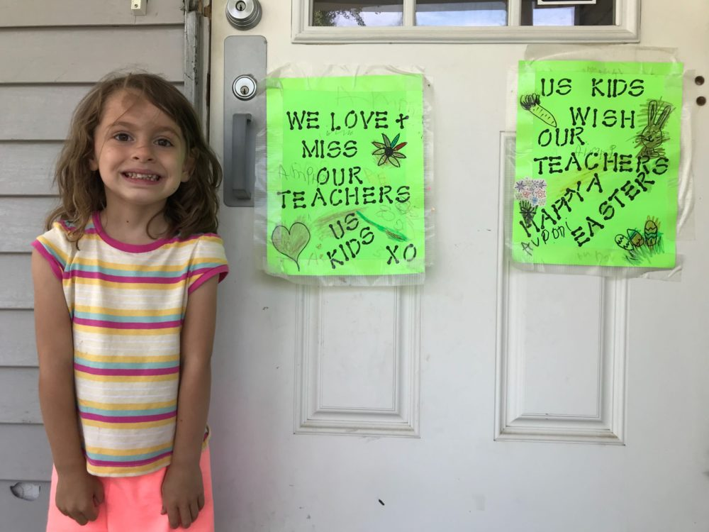 Peter O'Dowd's 4-year old daughter, Marissa, outside her daycare, which has been closed since March. (Courtesy)