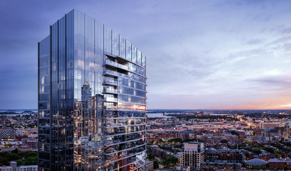A rendering of the Raffles Boston Back Bay Hotel & Residences, set to open in 2022 (Courtesy of The Architectural Team Inc.)
