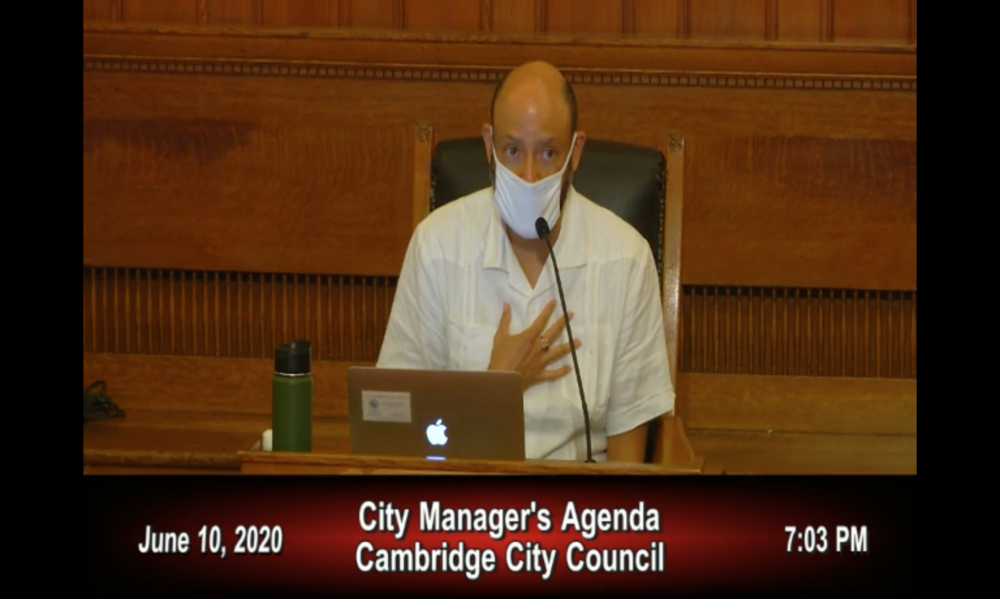 Councilor Quinton Zondervan at the Cambridge City Council meeting on Wednesday.(Screenshot via MediaTraq Webcast)