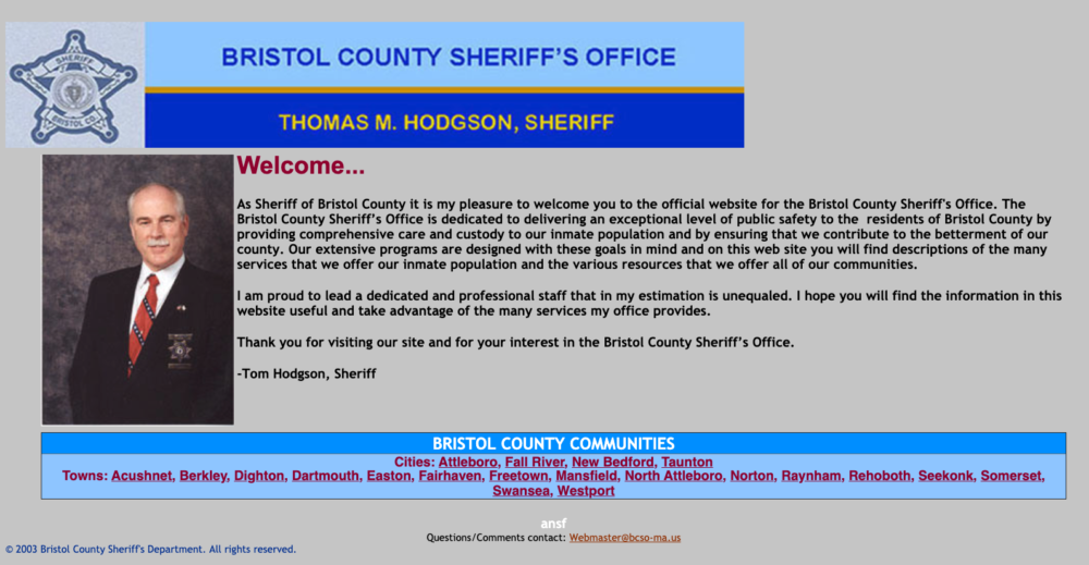 The Bristol County Sheriff's Office homepage in 2003, as captured by the Internet Archive's Wayback Machine.