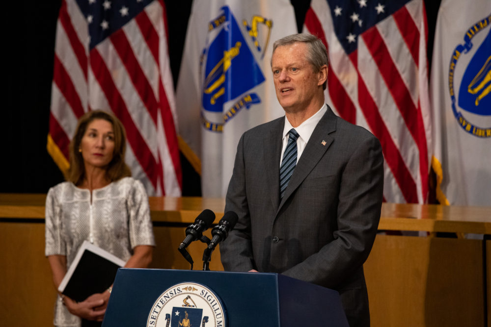 Gov. Charlie Baker held a State House news conference Wednesday to discuss a report on the deaths of at least 76 veterans with COVID-19 at the Holyoke Soldiers' Home. (Sam Doran/State House News Service)
