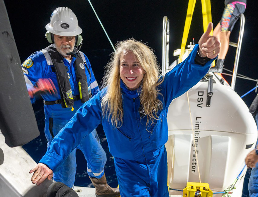 Vanessa O'Brien during her journey to the Challenger Deep in the Pacific Ocean's Mariana Trench. (Photo by Enrique Alvarez)