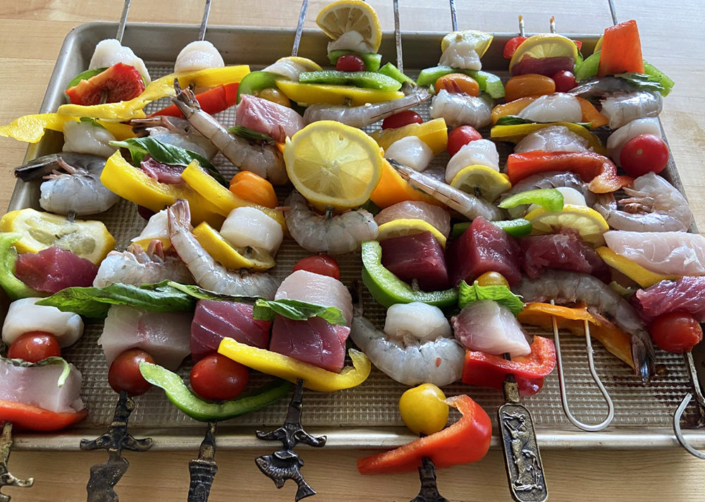 Fish And Vegetable Kebobs (Kathy Gunst/Here & Now)