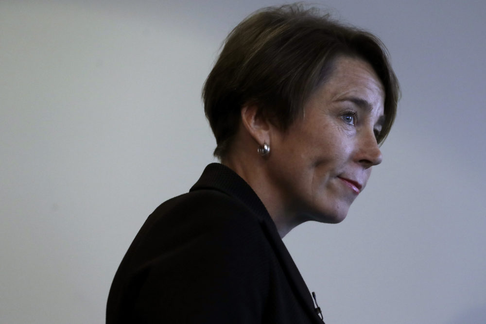 Massachusetts Attorney General Maura Healey steps away from the podium after taking questions from media during a news conference in September of 2019 in Boston. (Steven Senne/AP)