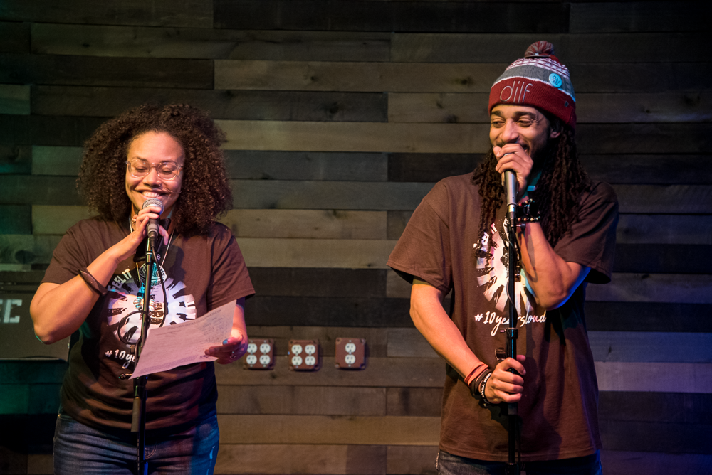 "Jha D Williams and D. Ruff introduce the ground rules for the ""If You Can Feel It, You Can Speak It"" open mic at its 10th anniversary celebration. (Courtesy Bryan Trench/The Event Shooters)"