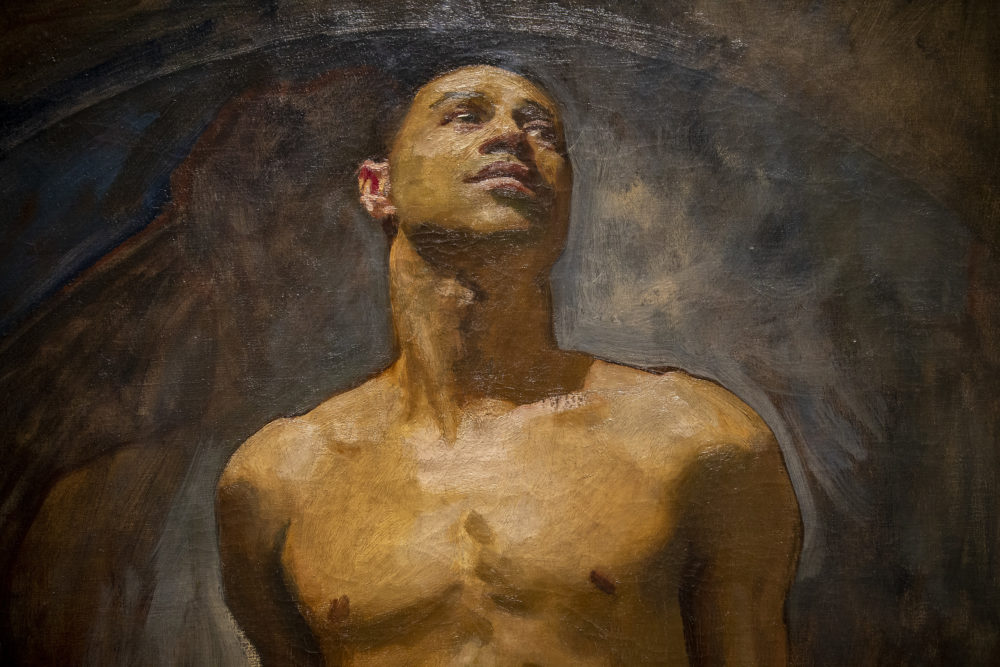 A detail shot of John Singer Sargent's portrait of Thomas McKeller, showing at the Isabella Stewart Gardner Museum. (Jesse Costa/WBUR)
