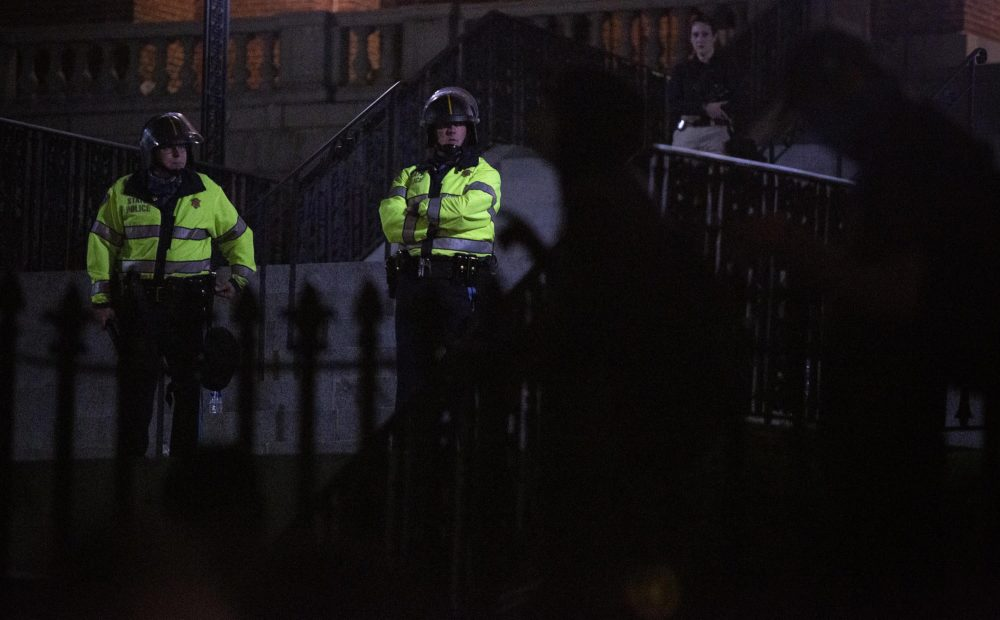 Police inside the gates of the Massachusetts State House watch protesters in June. (Robin Lubbock/WBUR)