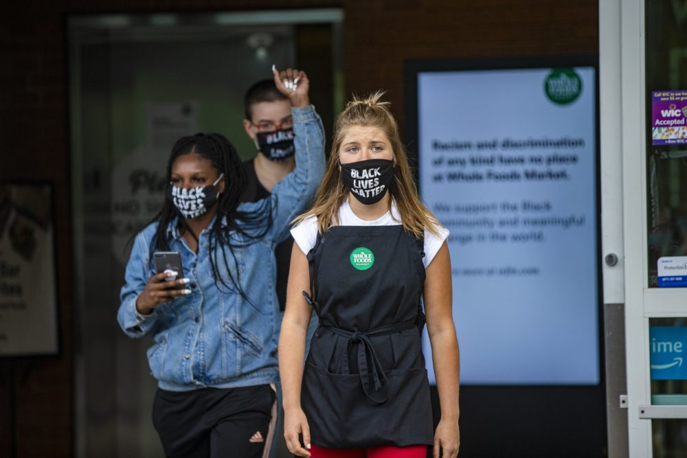 Savannah Kinzer was among the employees who were dismissed from work after they continued to wear Black Lives Matter masks during their shifts at Whole Foods on River Street in Cambridge. (Jesse Costa/WBUR)