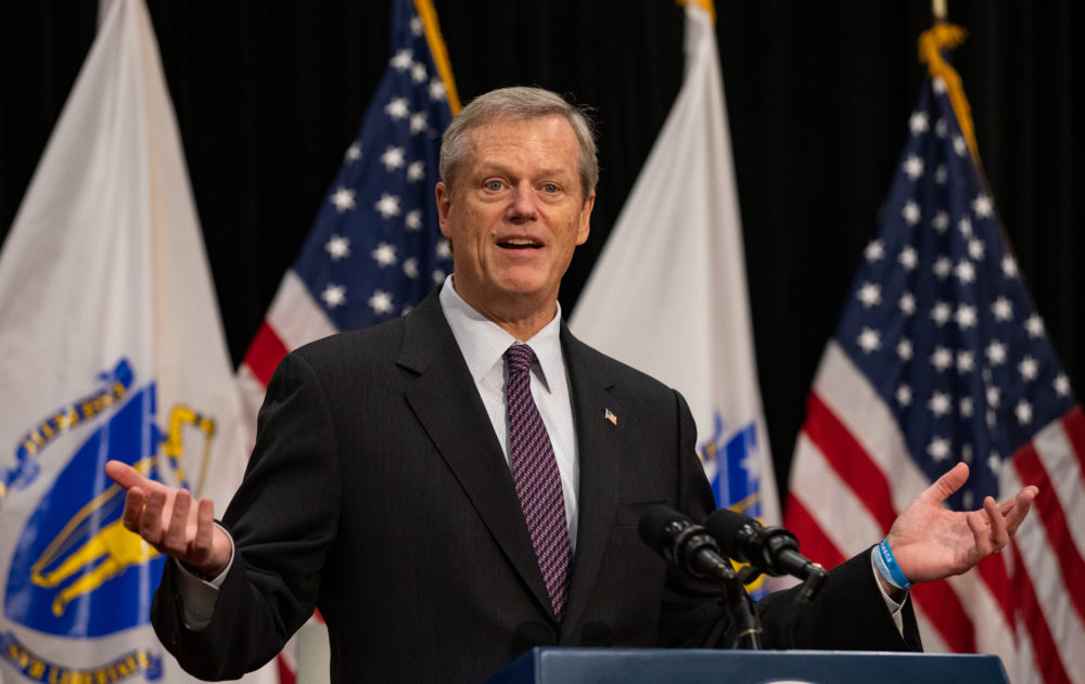 Gov. Charlie Baker at a press conference Friday at the State House. (Sam Doran/SHNS)