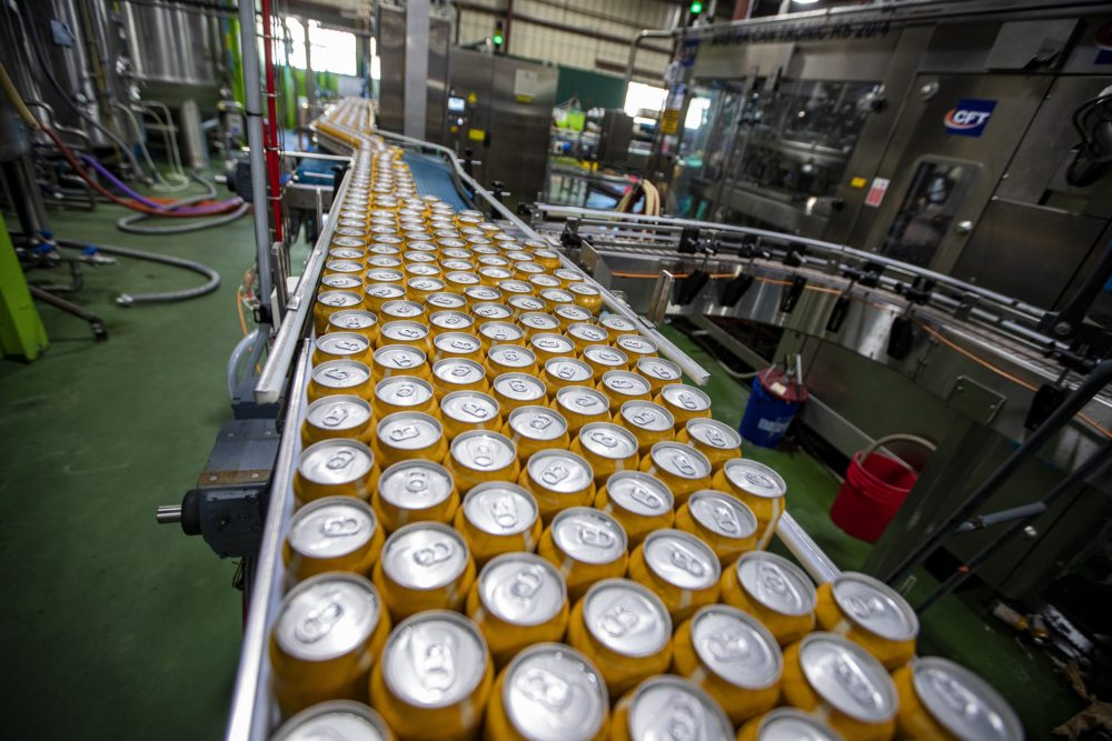 Cans of Blood Orange Wheat on canning line at Jack's Abby in Framingham. (Jesse Costa/WBUR)