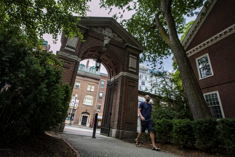 A man walks through McKean Gate in Harvard Yard. (Jesse Costa/WBUR)