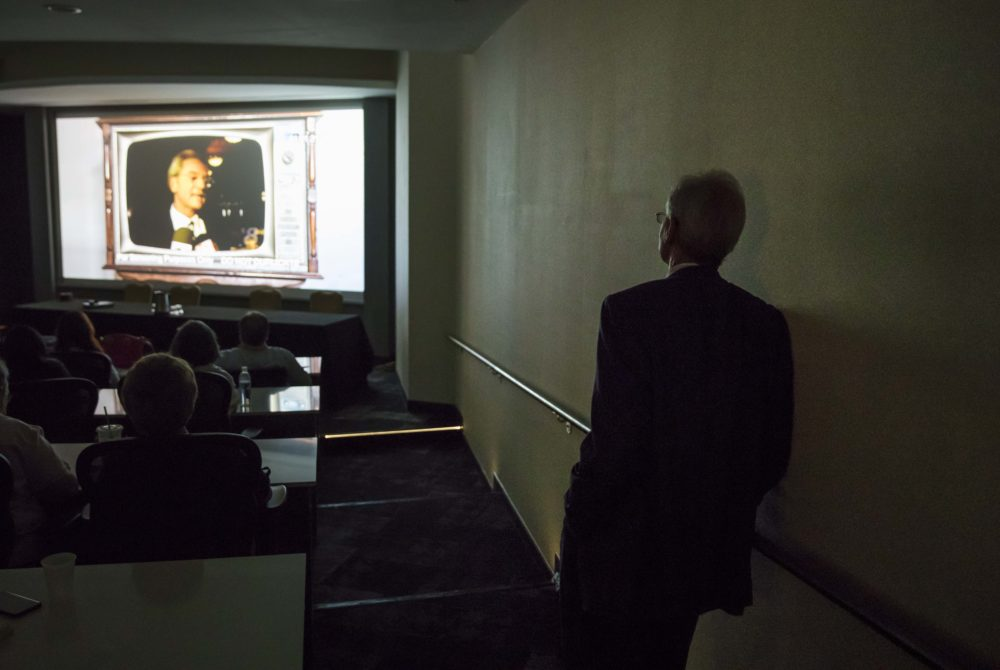 "Former Alabama Gov. Don Siegelman watches a screening of the documentary ""Atticus v. The Architect"" about his prosecution and imprisonment during the Netroots Nation conference in Atlanta, Thursday, Aug. 10, 2017. (David Goldman/AP Photo)"