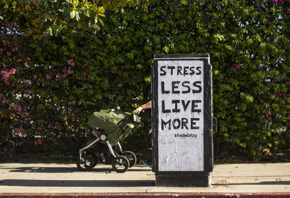 A mother walks with double baby stroller in Los Angeles on Thursday, May 14, 2020. (Damian Dovarganes/AP Photo)