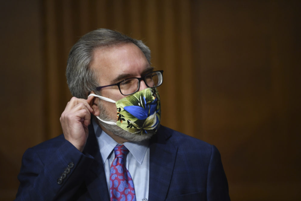 Andrew Wheeler, administrator of the Environmental Protection Agency, adjusts his mask at a hearing during a Senate Environment and Public Works Committee oversight hearing to examine the Environmental Protection Agency, Wednesday, May 20, 2020 on Capitol Hill in Washington. (Kevin Dietsch/AP)