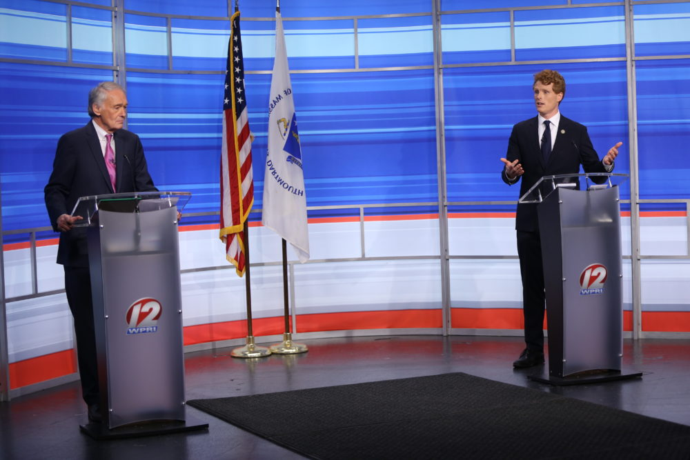 Rep. Joe Kennedy III speaks during a televised debate with Sen. Edward Markey in East Providence, R.I., June 8, 2020. (Jessica Bradley/WPRI-TV via AP)