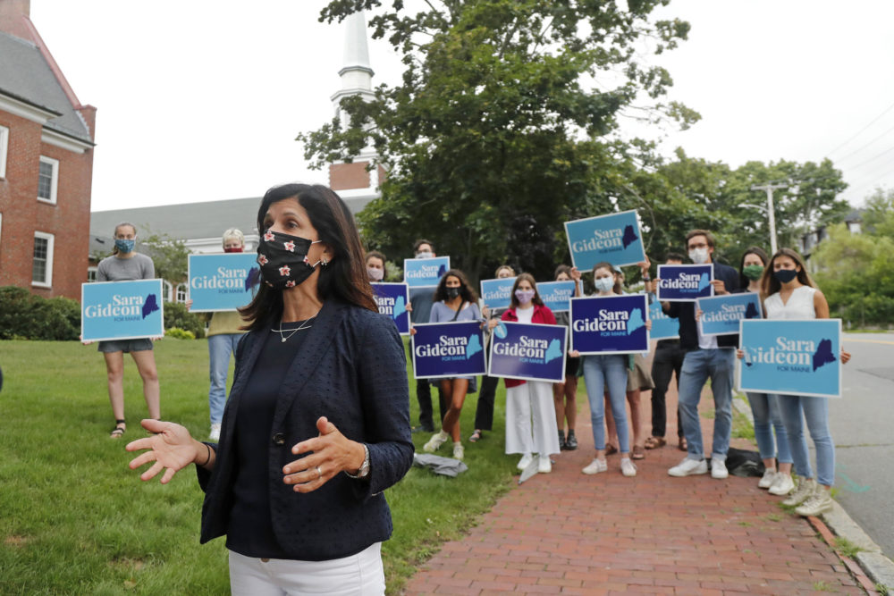 House speaker Sara Gideon, D-Freeport, speaks to the media near a polling station, July 14, 2020, in Portland, Maine.  (Elise Amendola/AP)