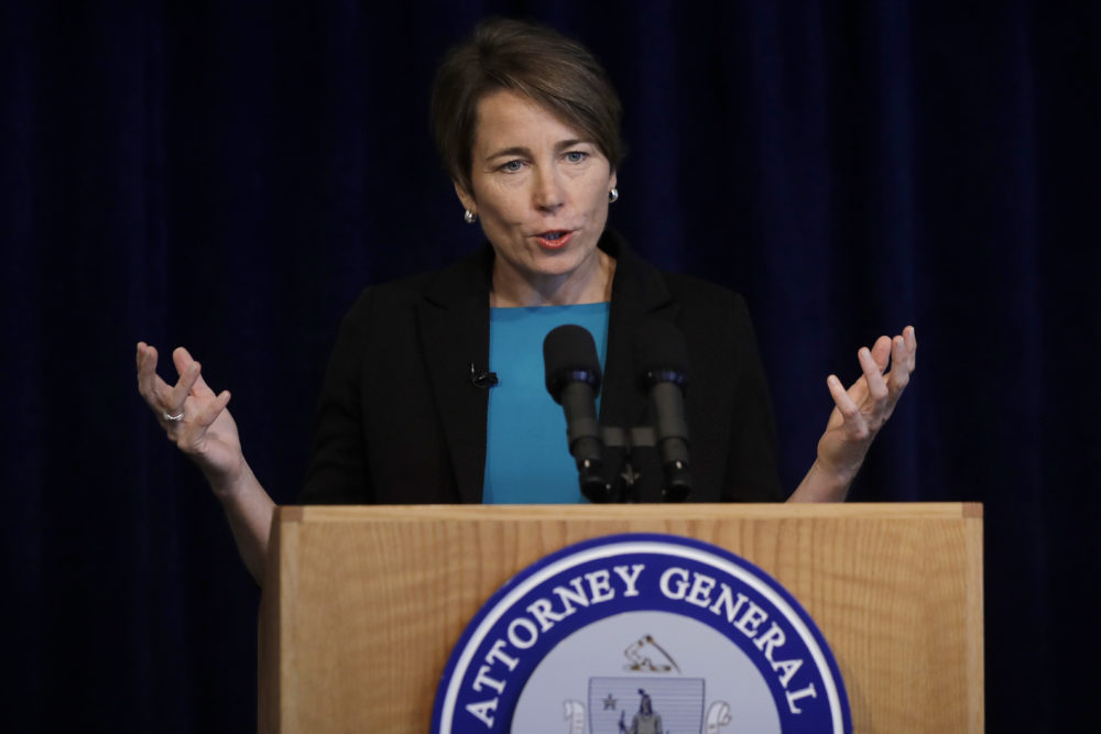 In this Sept. 16, 2019, file photo, Massachusetts Attorney General Maura Healey takes questions during a news conference in Boston. (Steven Senne/AP File)