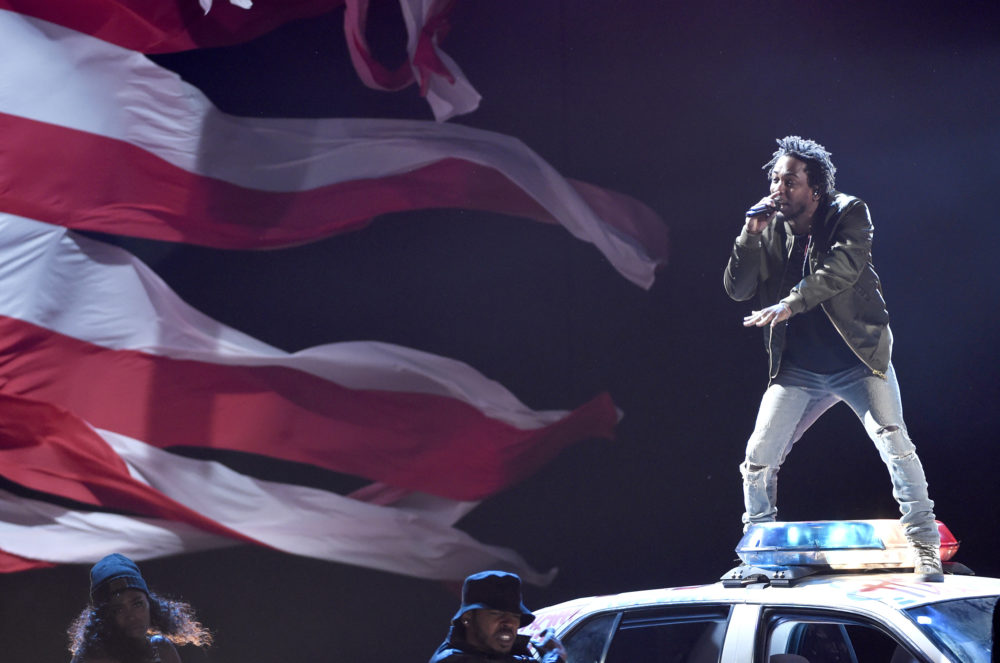 Kendrick Lamar performs at the BET Awards at the Microsoft Theater on Sunday, June 28, 2015, in Los Angeles. (Chris Pizzello/Invision/AP)