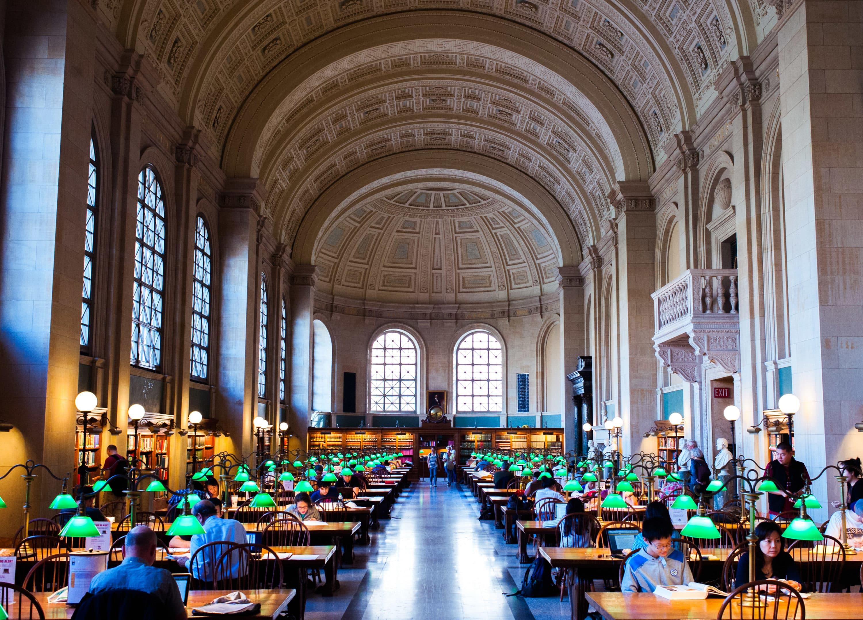 The reading room in the Boston Public Library. (Courtesy Huntington Theatre Company)