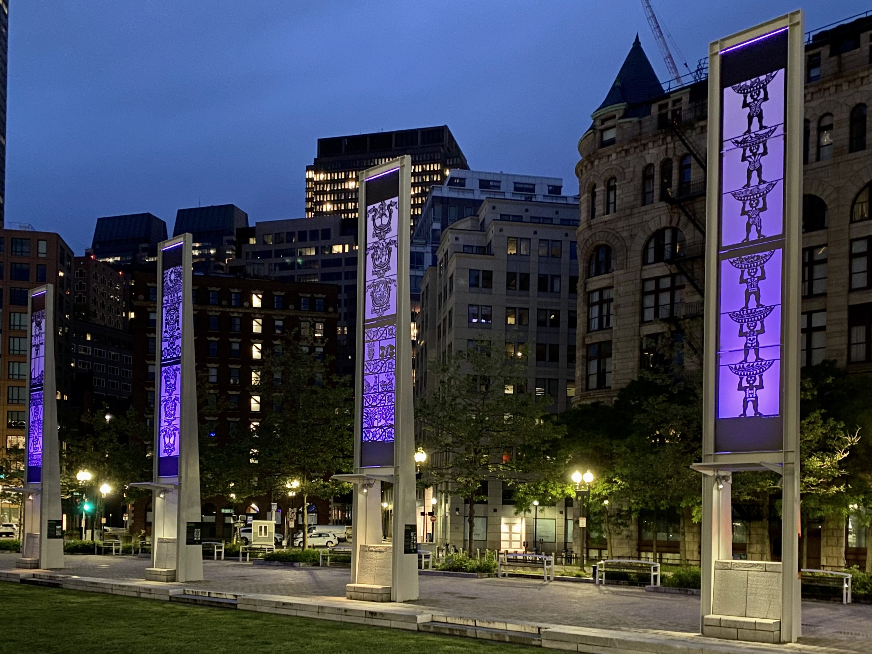 "Catalina Delgado-Trunk's installation ""Global Connections"" on the Rose Kennedy Greenway. (Courtesy)"