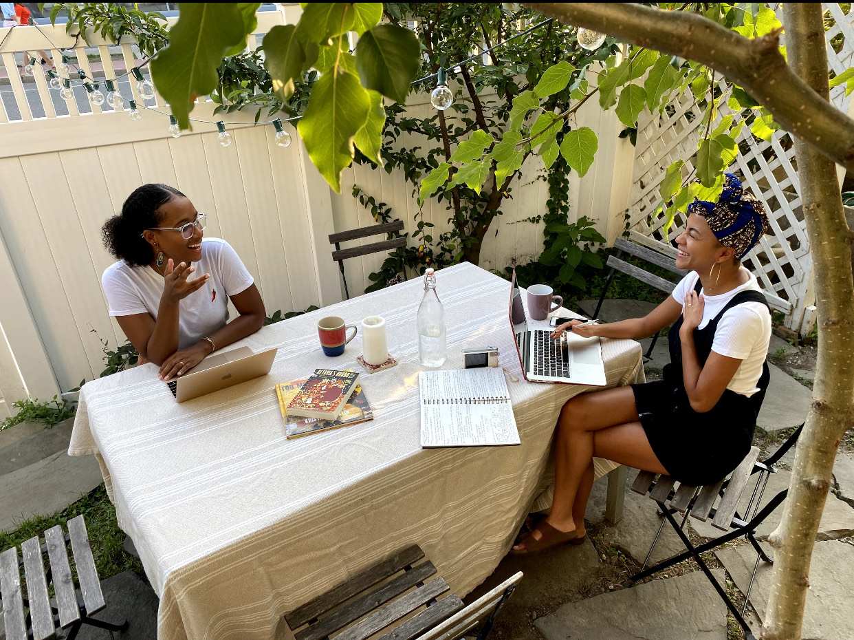 "Najha Zigbi-Johnson (left) and Lesedi Graveline (right) co-edited the ""Freedom School"" journal. ""It wasn't about a process of eliminating work. It was about receiving work with care,"" says Zigbi-Johnson. (Courtesy Lynda Hoang)"