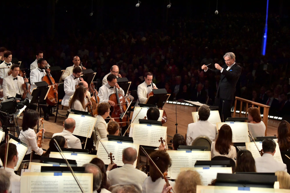 Michael Tilson Thomas conducts at the The Leonard Bernstein Centennial Celebration at Tanglewood on August 25, 2018 in Lenox, Mass. The Boston Symphony Orchestra was joined by members of the New York Philharmonic, Vienna Philharmonic Orchestra, Israel Philharmonic Orchestra, Tanglewood Music Center Orchestra, Pacific Festival and Schleswig-Holstein Music Festival. (Paul Marotta/Getty Images)